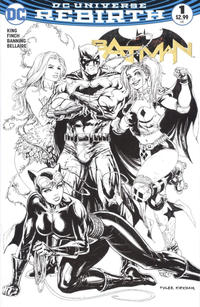 Cover Thumbnail for Batman (DC, 2016 series) #1 [Hastings Exclusive Tyler Kirkham Black and White Variant]