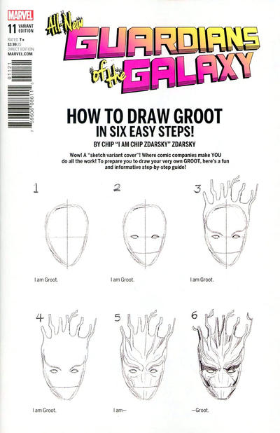 Cover for All-New Guardians of the Galaxy (Marvel, 2017 series) #11 [Chip Zdarsky 'How to Draw Groot']