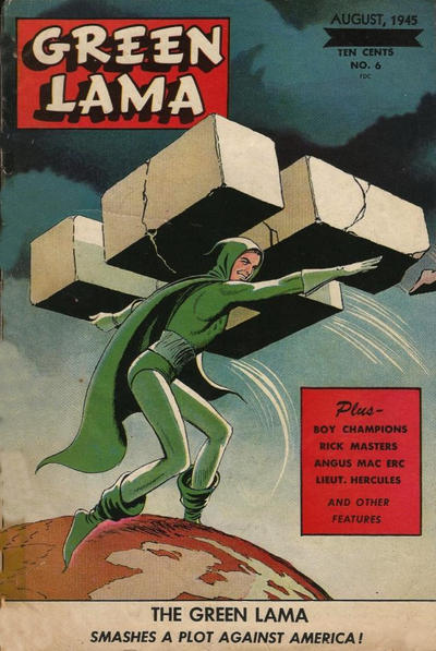 Cover for Green Lama (Spark Publications, 1944 series) #6 [June blackened and changed to August cover]