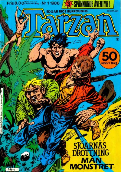 Cover for Tarzan (Atlantic Förlags AB, 1977 series) #1/1986