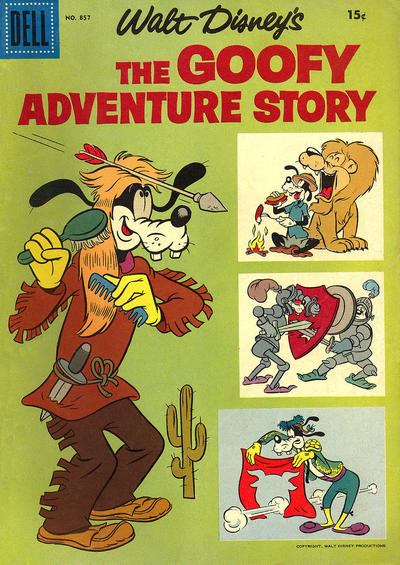 Cover for Four Color (Dell, 1942 series) #857 - Walt Disney's The Goofy Adventure Story [15¢]