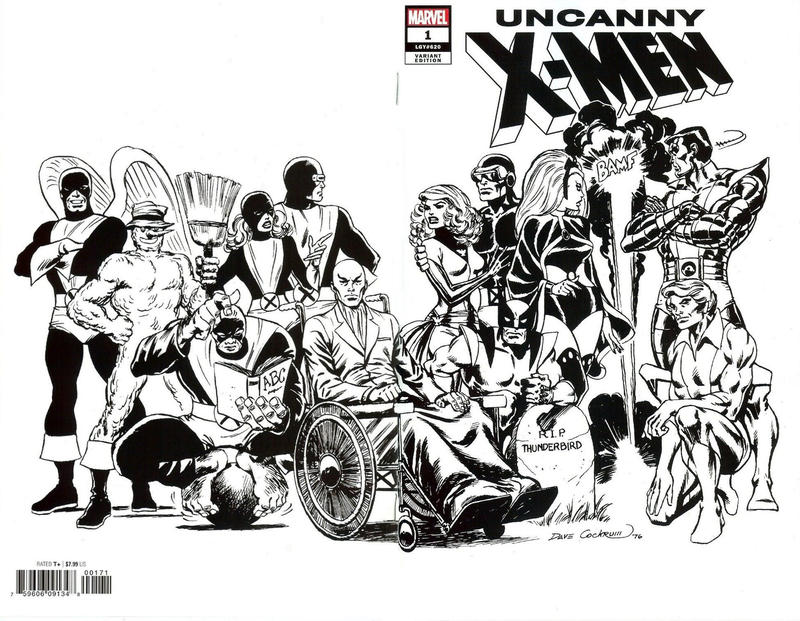 Cover for Uncanny X-Men (Marvel, 2019 series) #1 (620) [Dave Cockrum 'Hidden Gem' Wraparound Black and White]