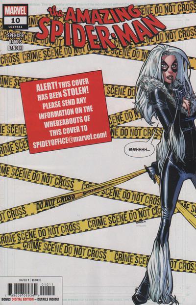 Cover for Amazing Spider-Man (Marvel, 2018 series) #10 (811) [Variant Edition - Black Cat - J. Scott Campbell Virgin Cover]