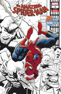 Cover Thumbnail for Amazing Spider-Man (Marvel, 2018 series) #1 (802) [Variant Edition - PX Previews Exclusive San Diego Comic Con 2018 - Ryan Ottley Black and White Wraparound Cover]