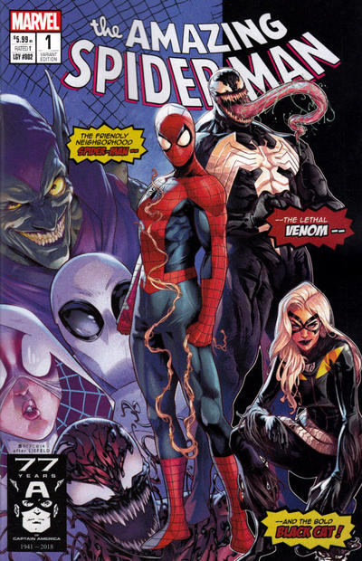 Cover for Amazing Spider-Man (Marvel, 2018 series) #1 (802) [Variant Edition - The Comic Mint Exclusive - Greg Horn Cover]