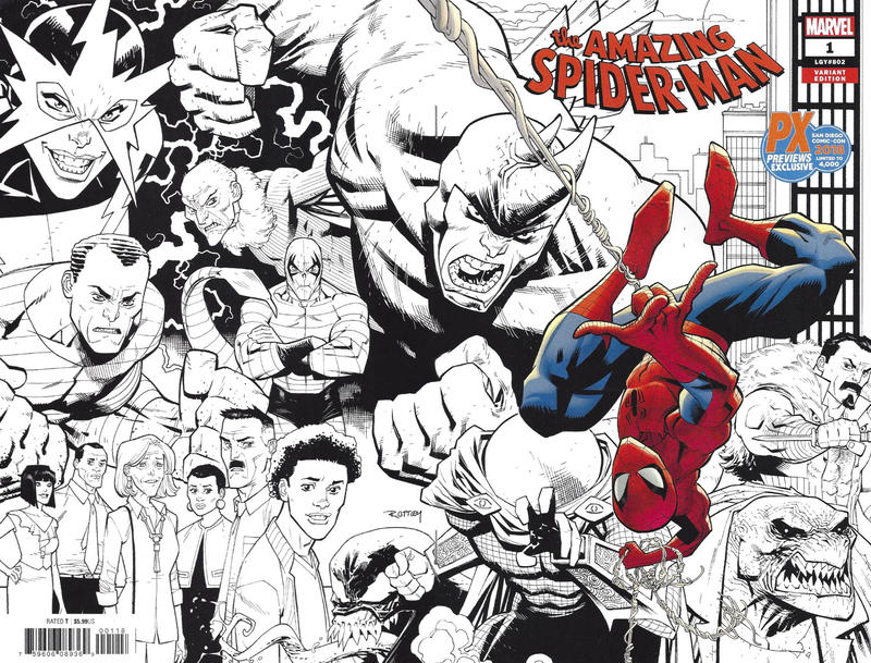 Cover for Amazing Spider-Man (Marvel, 2018 series) #1 (802) [Variant Edition - Ryan Ottley Virgin Wraparound Cover]