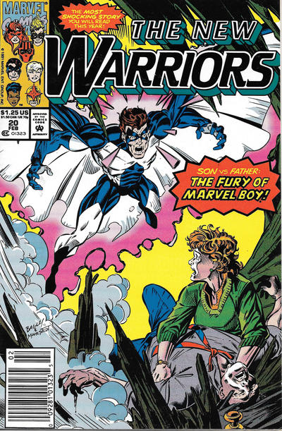 Cover for The New Warriors (Marvel, 1990 series) #20 [Newsstand]
