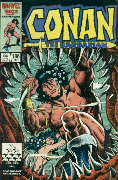 Cover for Conan the Barbarian (Marvel, 1970 series) #186 [Direct Edition]