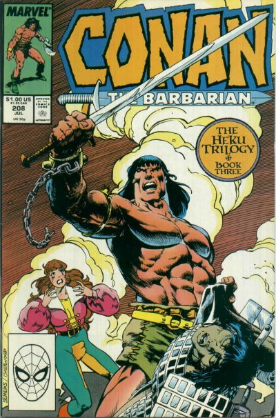 Cover for Conan the Barbarian (Marvel, 1970 series) #208 [Newsstand]
