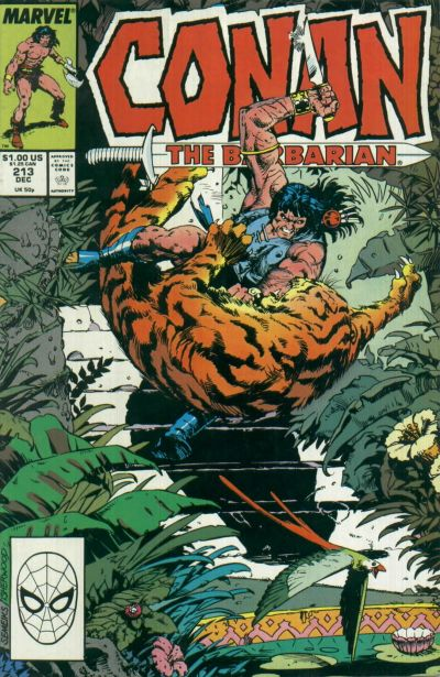 Cover for Conan the Barbarian (Marvel, 1970 series) #213 [Newsstand Edition]