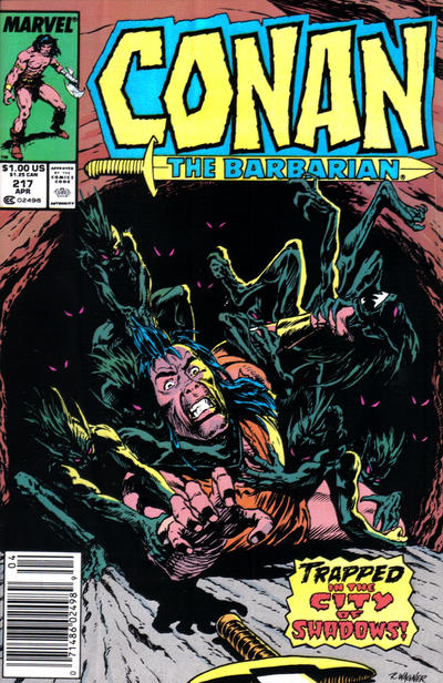 Cover for Conan the Barbarian (Marvel, 1970 series) #217 [Newsstand Edition]