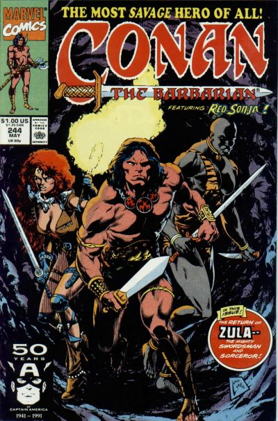 Cover for Conan the Barbarian (Marvel, 1970 series) #244 [Newsstand Edition]