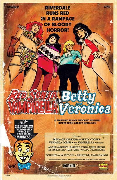 Cover for Red Sonja and Vampirella Meet Betty and Veronica (Dynamite Entertainment, 2019 series) #1 [Cover G Cat Staggs]