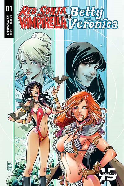 Cover for Red Sonja and Vampirella Meet Betty and Veronica (Dynamite Entertainment, 2019 series) #1 [Exclusive Virgin Cover Art by Shannon Maer]