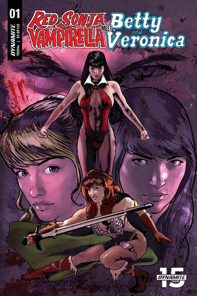 Cover for Red Sonja and Vampirella Meet Betty and Veronica (Dynamite Entertainment, 2019 series) #1 [Exclusive Alternate Virgin Cover Art by Shannon Maer]