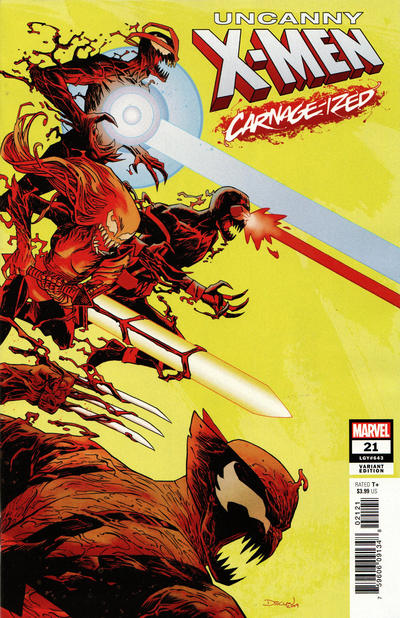 Cover for Uncanny X-Men (Marvel, 2019 series) #21 (643) [Declan Shalvey 'Carnage-Ized']