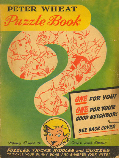 Cover for Peter Wheat Puzzle Book (Peter Wheat Bread and Bakers Associates, 1952 series)