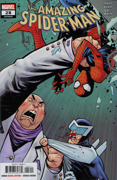 Cover for Amazing Spider-Man (Marvel, 2018 series) #28 (829) [Variant Edition - Marvel 80th Anniversary Frame - Humberto Ramos Cover]