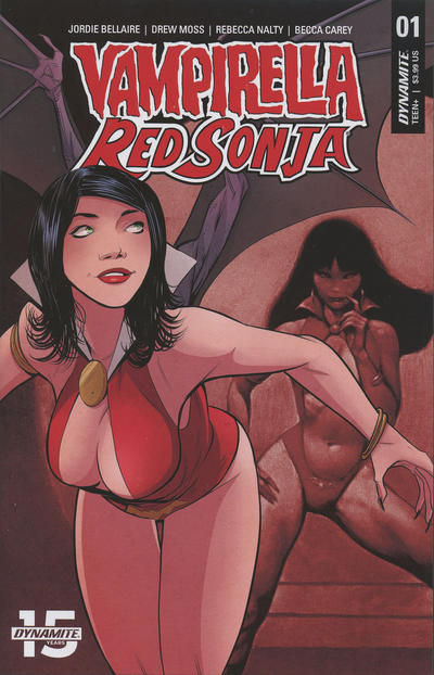 Cover for Vampirella/Red Sonja (Dynamite Entertainment, 2019 series) #1 [Cover E Drew Moss]