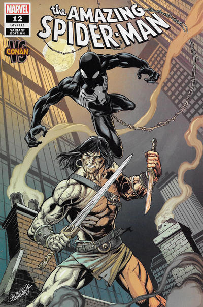 Cover for Amazing Spider-Man (Marvel, 2018 series) #12 (813) [Variant Edition - Conan vs - Mark Bagley Cover]