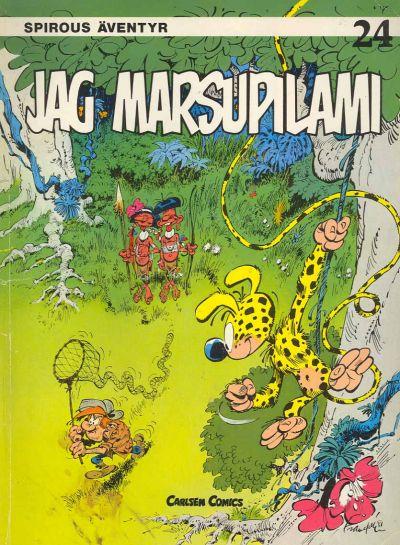 Cover for Spirous äventyr (Carlsen/if [SE], 1974 series) #24 - Jag Marsupilami [2:a upplagan, 1989]