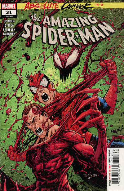 Cover for Amazing Spider-Man (Marvel, 2018 series) #31 (832) [Second Printing - Ryan Ottley Cover]