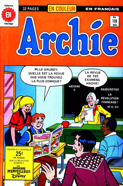 Cover for Archie (Editions Héritage, 1971 series) #118