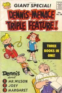 Cover Thumbnail for Dennis the Menace Giant (Hallden; Fawcett, 1958 series) #28 - Dennis the Menace Triple Feature!
