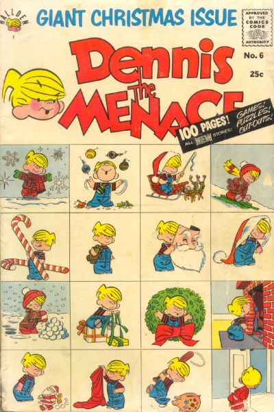 Cover for Dennis the Menace Giant (Hallden; Fawcett, 1958 series) #6 - Dennis the Menace Giant Christmas Issue