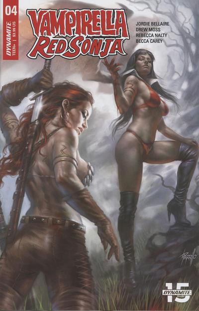 Cover for Vampirella/Red Sonja (Dynamite Entertainment, 2019 series) #4 [Cover C Lucio Parrillo]
