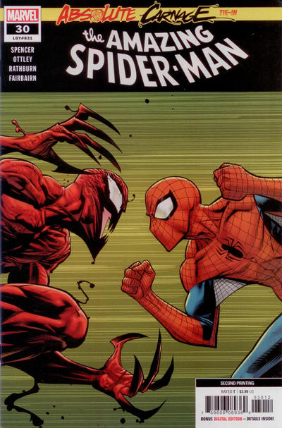 Cover for Amazing Spider-Man (Marvel, 2018 series) #30 (831) [Codex Variant - Giuseppe Camuncoli and Erick Arciniega Cover]