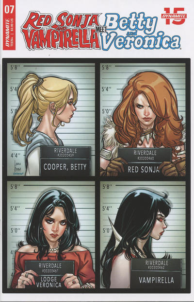 Cover for Red Sonja and Vampirella Meet Betty and Veronica (Dynamite Entertainment, 2019 series) #7 [FOC Bonus Art by Maria Sanapo]