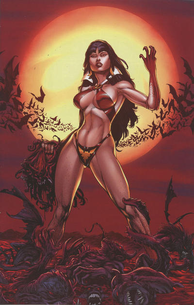 Cover for Vengeance of Vampirella (Dynamite Entertainment, 2019 series) #1 [FOC Virgin Blood Moon Art by Buzz]