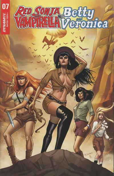 Cover for Red Sonja and Vampirella Meet Betty and Veronica (Dynamite Entertainment, 2019 series) #7 [Cover A Laura Braga]