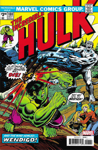 Cover for Incredible Hulk No. 180 Facsimile Edition (Marvel, 2020 series)