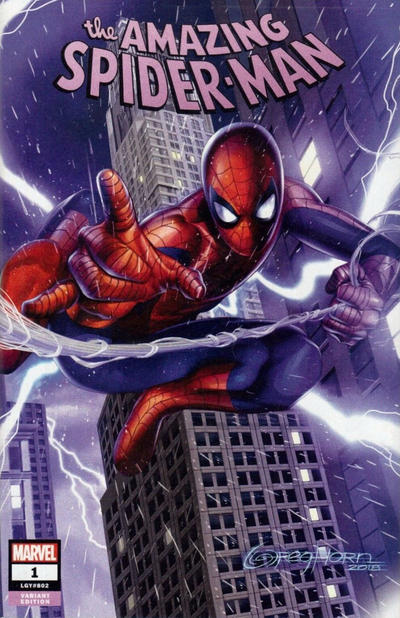 Cover for Amazing Spider-Man (Marvel, 2018 series) #1 (802) [Variant Edition - KRS Comics / Scott's Collectables Exclusive - Gabriele Dell'Otto Virgin Cover]