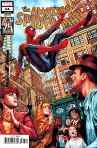 Cover for Amazing Spider-Man (Marvel, 2018 series) #24 (825) [Secret Variant - Carnage 'Bloody' Logo]