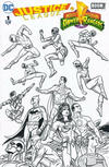 Cover Thumbnail for Justice League / Power Rangers (2017 series) #1 [Fried Pie Mike Allred Black and White Cover]