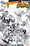 Cover Thumbnail for Justice League / Power Rangers (2017 series) #1 [Gamestop Yanick Paquette Black and White Cover]