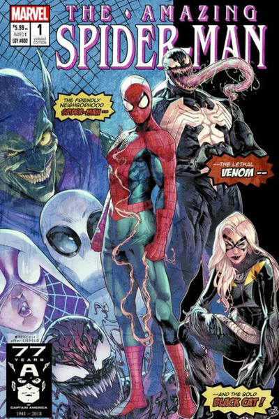 Cover for Amazing Spider-Man (Marvel, 2018 series) #1 (802) [Variant Edition - Alex Ross Exclusive - Amazing Fantasy #15 Homage]