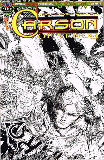 Cover for Edgar Rice Burroughs' Carson of Venus: The Flames Beyond (American Mythology Productions, 2019 series) #1 [Limited Edition Black and White Cover]