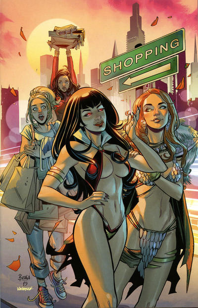 Cover for Red Sonja and Vampirella Meet Betty and Veronica (Dynamite Entertainment, 2019 series) #10 [Incentive Virgin Cover Laura Braga]
