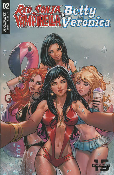 Cover for Red Sonja and Vampirella Meet Betty and Veronica (Dynamite Entertainment, 2019 series) #2 [Cover F Black and White Dan Parent]