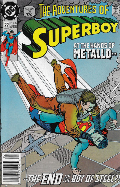Cover for The Adventures of Superboy (DC, 1991 series) #22 [Newsstand]