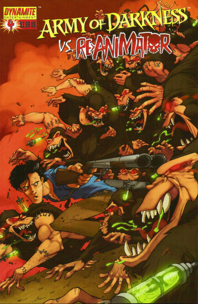 Cover for Army of Darkness vs. Re-Animator (Dynamite Entertainment, 2005 series) #4 [Cover B - Sanford Greene]