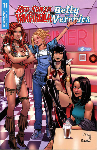 Cover for Red Sonja and Vampirella Meet Betty and Veronica (Dynamite Entertainment, 2019 series) #12 [Cover B Robert Hack]
