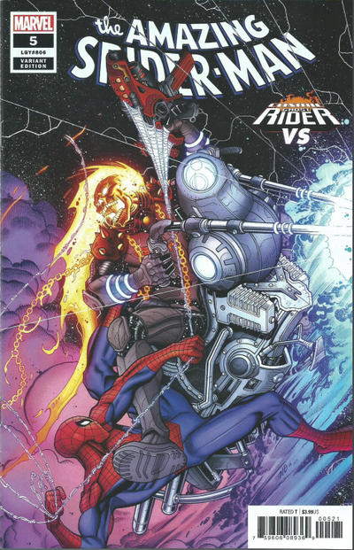 Cover for Amazing Spider-Man (Marvel, 2018 series) #5 (806) [Variant Edition - Cosmic Ghost Rider vs - Nick Bradshaw Cover]