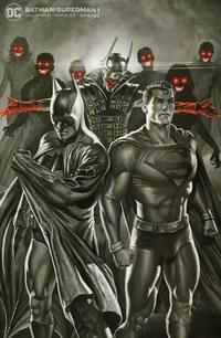 Cover Thumbnail for Batman / Superman (DC, 2019 series) #1 [BuyMeToys.com Rodolfo Migliari Black and White Minimal Trade Dress Cover]