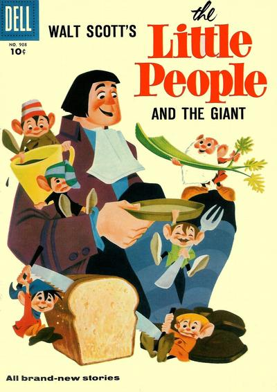 Cover for Four Color (Dell, 1942 series) #908 - Walt Scott's The Little People and the Giant