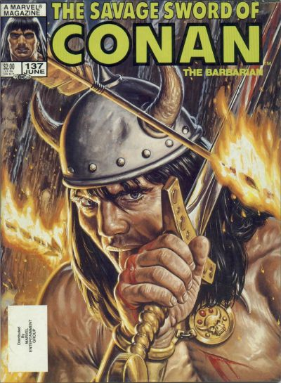Cover for The Savage Sword of Conan (Marvel, 1974 series) #137 [Newsstand]